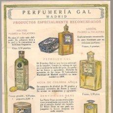 Catálogos publicitarios: PROPAGANDA PERFUMERIA GAL MADRID HOJA 16X 11 CM, ... ... Lote 97792775