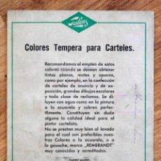 Catálogos publicitarios: CATÁLOGO TALENS DE COLORES TEMPERA PARA CARTELES AÑO 40-50, CON MUESTRARIO DE COLORES. Lote 98190243