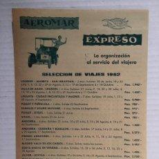Catálogos publicitarios: FOLLETO PUBLICITARIO DE VIAJES AEROMAR EXPRESO AÑO 1962. Lote 98253151