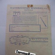 Catálogos publicitarios: HOJA PUBLICITARIA DE DISTRIBUCIONES REUNIDAS. VERANO DE 1959. BARCELONA. TDKP12. Lote 98635027