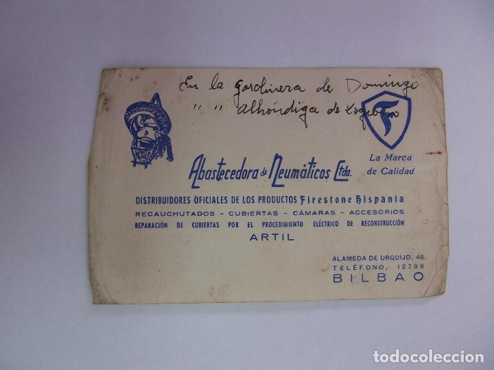 TARJETA DE VISITA PUBLICITARIA ABASTECEDORA DE NEUMATICOS. ALAMEDA DE URQUIJO BILBAO. 1954 TDKP12 (Coleccionismo - Catálogos Publicitarios)