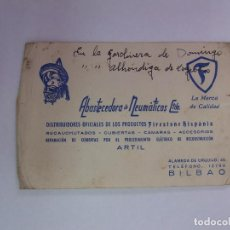 Catálogos publicitarios: TARJETA DE VISITA PUBLICITARIA ABASTECEDORA DE NEUMATICOS. ALAMEDA DE URQUIJO BILBAO. 1954 TDKP12. Lote 98674671