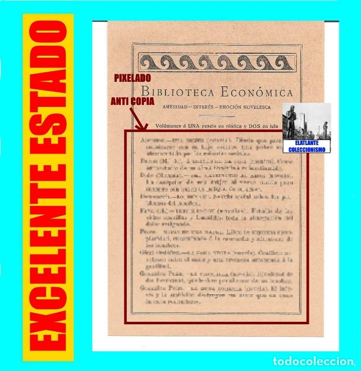EDITORIAL PROMETEO - VALENCIA - HOJA PUBLICITARIA DE LA BIBLIOTECA ECONÓMICA - CIRCA 1909 - RARÍSIMA (Coleccionismo - Catálogos Publicitarios)