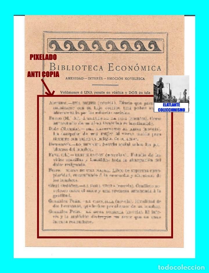 Catálogos publicitarios: EDITORIAL PROMETEO - VALENCIA - HOJA PUBLICITARIA DE LA BIBLIOTECA ECONÓMICA - CIRCA 1909 - RARÍSIMA - Foto 2 - 99073683