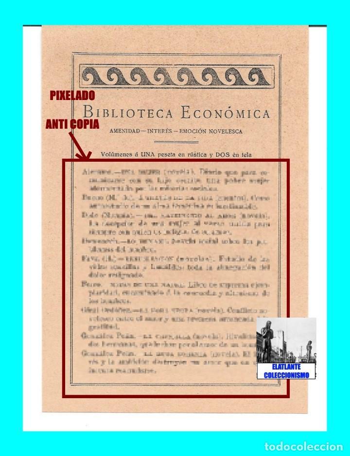 Catálogos publicitarios: EDITORIAL PROMETEO - VALENCIA - HOJA PUBLICITARIA DE LA BIBLIOTECA ECONÓMICA - CIRCA 1909 - RARÍSIMA - Foto 3 - 99073683