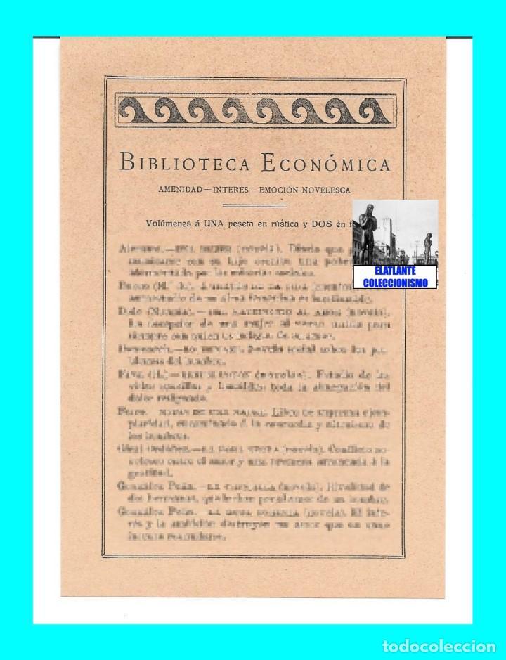 Catálogos publicitarios: EDITORIAL PROMETEO - VALENCIA - HOJA PUBLICITARIA DE LA BIBLIOTECA ECONÓMICA - CIRCA 1909 - RARÍSIMA - Foto 4 - 99073683