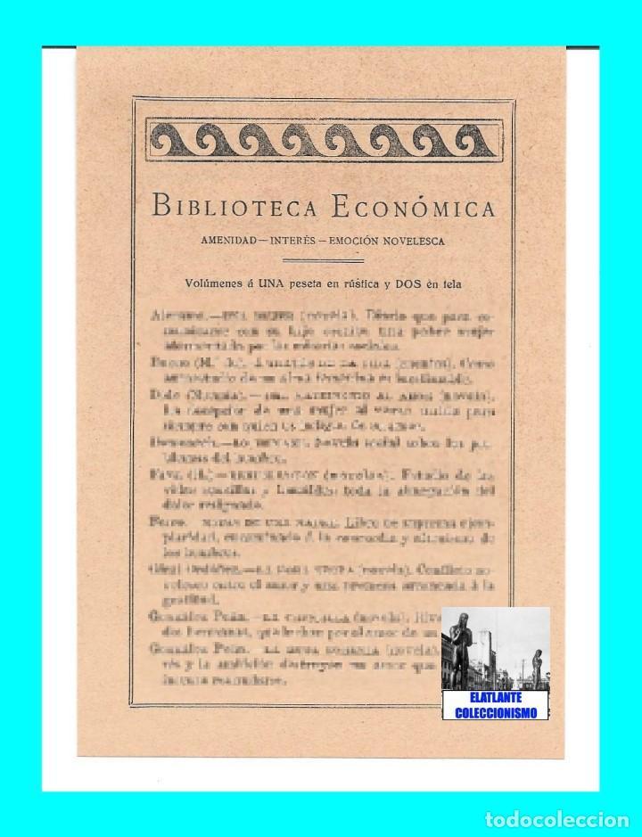 Catálogos publicitarios: EDITORIAL PROMETEO - VALENCIA - HOJA PUBLICITARIA DE LA BIBLIOTECA ECONÓMICA - CIRCA 1909 - RARÍSIMA - Foto 5 - 99073683