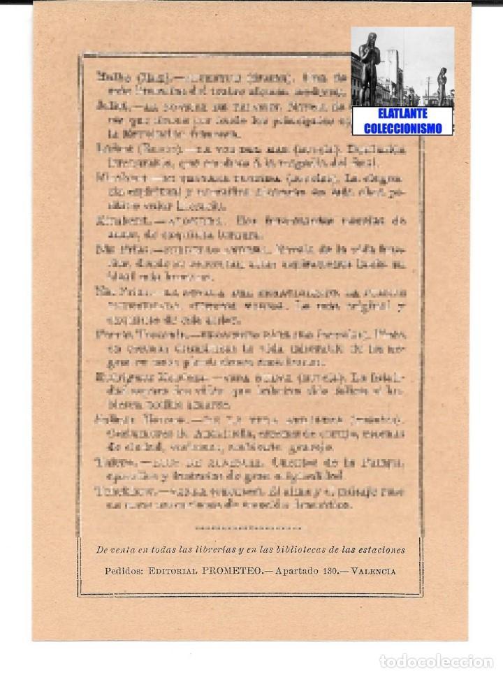 Catálogos publicitarios: EDITORIAL PROMETEO - VALENCIA - HOJA PUBLICITARIA DE LA BIBLIOTECA ECONÓMICA - CIRCA 1909 - RARÍSIMA - Foto 6 - 99073683