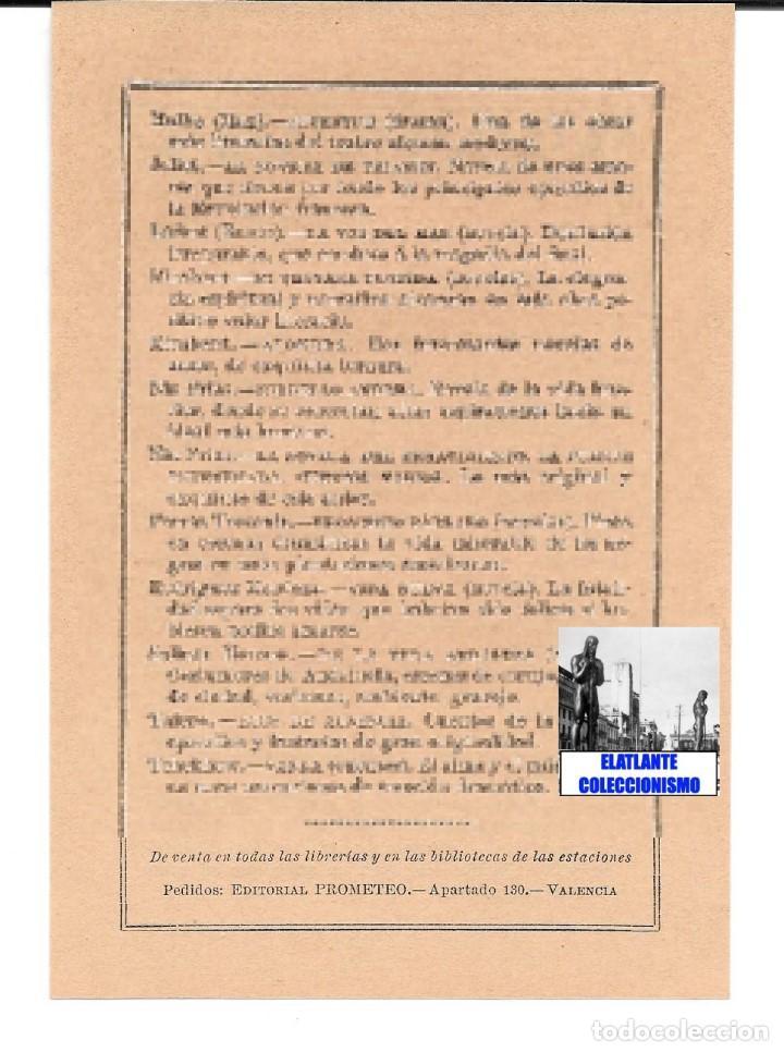 Catálogos publicitarios: EDITORIAL PROMETEO - VALENCIA - HOJA PUBLICITARIA DE LA BIBLIOTECA ECONÓMICA - CIRCA 1909 - RARÍSIMA - Foto 7 - 99073683