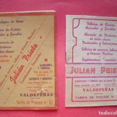 Catálogos publicitarios: JULIAN PRIETO.-CATALOGOS.-BODEGAS DE VINOS.-FABRICA DE LICORES.-ANISADOS Y JARABES.-ANIS.-VALDEPEÑAS. Lote 99302279