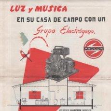 Catalogues publicitaires: FOLLETO PUBLICITARIO GRUPO ELECTRÓGENO MARCONI. IMPRESO EN 1959 . 21 X 31,5 CMS. REVERSO TAMBIÉN. Lote 99473319