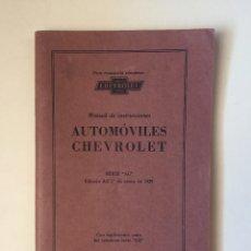 Catálogos publicitarios: CATALOGO AUTOMOVILES CHEVROLET- MANUAL DE INSTRUCCIONES ENERO 1.929. Lote 100044619