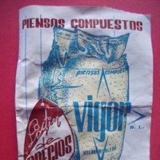 Catálogos publicitarios: VIGOR S. L.-PIENSOS COMPUESTOS.-LISTA DE PRECIOS.-VILLARROBLEDO.-ALBACETE.-AÑO 1975.. Lote 101152595