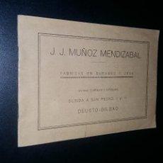 Catálogos publicitarios: J.J. MUÑOZ MENDIZABAL / FABRICAS EN DURANGO Y DEVA / DEUSTO BILBAO.. Lote 101371279
