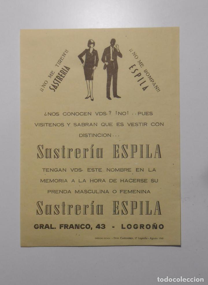 HOJA PUBLICITARIA SASTRERIA ESPILA. CALLE GEERAL FRANCO LOGROÑO. AÑO 1969. TDKP2 (Coleccionismo - Catálogos Publicitarios)