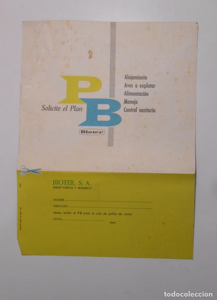 HOJA PUBLICITARIA BIOTER. PIENSOS ALIMENTACION PARA AVES. MADRID 1961. TDKP2 (Coleccionismo - Catálogos Publicitarios)