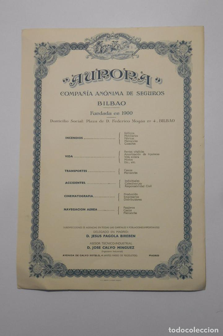 HOJA PUBLICITARIA AURORA COMPAÑIA ANONIMA DE SEGUROS BILBAO. PLAZA FEDERICO MOYUA. AÑOS 50. TDKP2 (Coleccionismo - Catálogos Publicitarios)