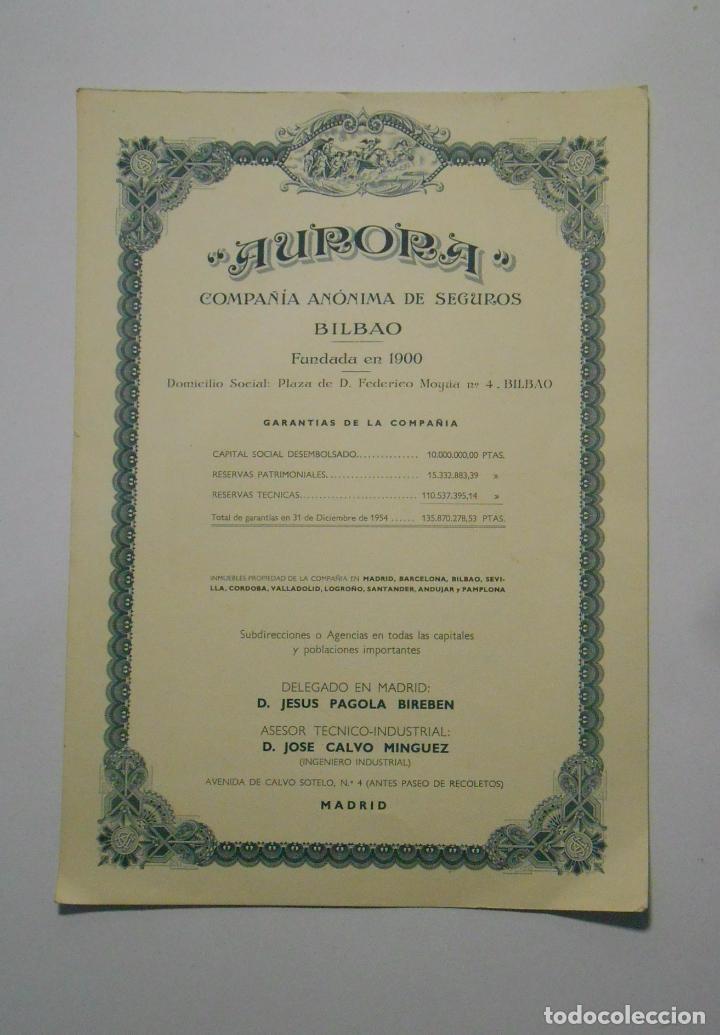 Catálogos publicitarios: HOJA PUBLICITARIA AURORA COMPAÑIA ANONIMA DE SEGUROS BILBAO. PLAZA FEDERICO MOYUA. AÑOS 50. TDKP2 - Foto 2 - 101926563