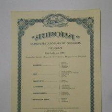 Catálogos publicitarios: HOJA PUBLICITARIA AURORA COMPAÑIA ANONIMA DE SEGUROS BILBAO. PLAZA FEDERICO MOYUA. AÑOS 50. TDKP2. Lote 101926631