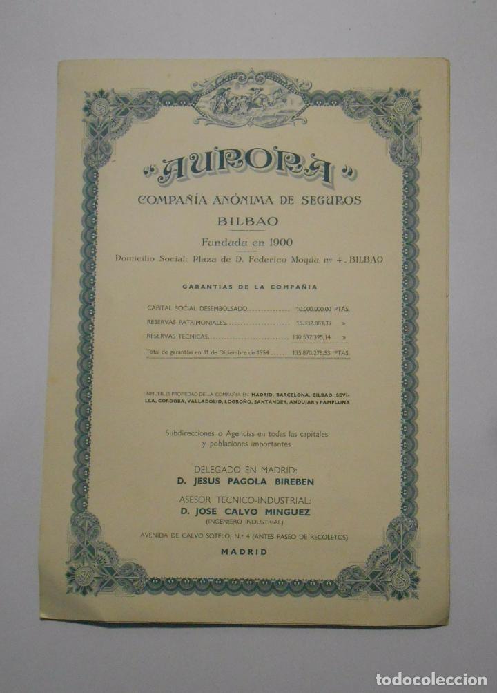 Catálogos publicitarios: HOJA PUBLICITARIA AURORA COMPAÑIA ANONIMA DE SEGUROS BILBAO. PLAZA FEDERICO MOYUA. AÑOS 50. TDKP2 - Foto 2 - 101926631