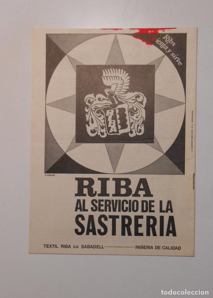 HOJA PUBLICITARIA RIBA AL SERVICIO DE LA SASTRERIA. ESCUELA TECNICA SUPERIOR SASTRERIA. TDKP2 (Coleccionismo - Catálogos Publicitarios)