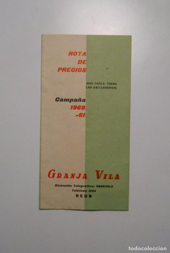 CATALOGO PUBLICITARIO DE PRECIOS GRANJA VILA. REUS CAMPAÑA 1960 - 1961. NOTA DE PRECIOS. TDKP2 (Coleccionismo - Catálogos Publicitarios)