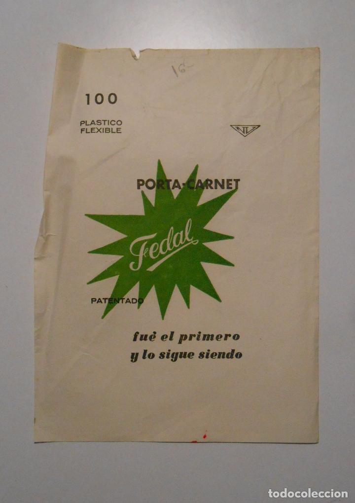 HOJA PUBLICITARIA PORTA CARNET FEDAL. PLASTICO FLEXIBLE PATENTADO. TDKP2 (Coleccionismo - Catálogos Publicitarios)