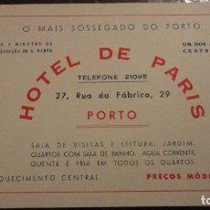 Catálogos publicitarios: ANTIGUA TARJETA PUBLICITARIA.HOTEL DE PARIS.PORTO.PORTUGAL.. Lote 102744003