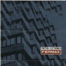 Catálogos publicitarios: FERMAX CATALOGO DE PORTEROS ELECTRONICO FOTMATO DIPTICO PRINCIPIOS DE LOS AÑOS 70. Lote 103253803
