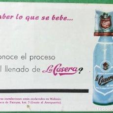 Catálogos publicitarios: FOLLETO PUBLICITARIO DE LA CASERA (MALIAÑO - SANTANDER) -PLANTA DE EMBOTELLADO - AÑOS 60/70. Lote 104636059