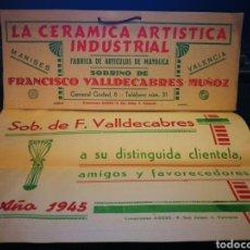 Catálogos publicitarios: CERAMICA ARTISTICA INDUSTRIAL. VALENCIA 1945.NUEVO Y COMPLETO. Lote 104729155