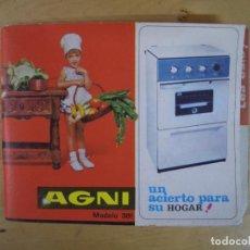 Catálogos publicitarios: AGNI COCINA MOD 381 LIBRO DE INSTRUCCIONES 1966 GUIA DE USO MANUAL CATALOGO INDUSTRIAS DEL HOGAR S.A. Lote 104901367