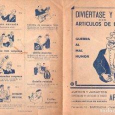 Catálogos publicitarios: CATÁLOGO ARTÍCULOS DE BROMA TIENDA DE JUGUETES ARNAU BARCELONA. Lote 105010219