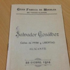 Catálogos publicitarios: ANTIGUO CATALOGO TARIFA DE PRECIÓS FABRICA DE MUEBLES GOSALBEZ COMERCIAL ALICANTE 1916. Lote 105207339