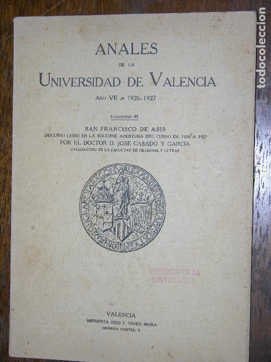 (F.1) ANALES DE LA UNIVERSIDAD DE VALENCIA AÑO 1926-1927 (Coleccionismo - Catálogos Publicitarios)