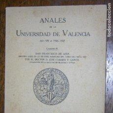 Catálogos publicitarios: (F.1) ANALES DE LA UNIVERSIDAD DE VALENCIA AÑO 1926-1927. Lote 105901355
