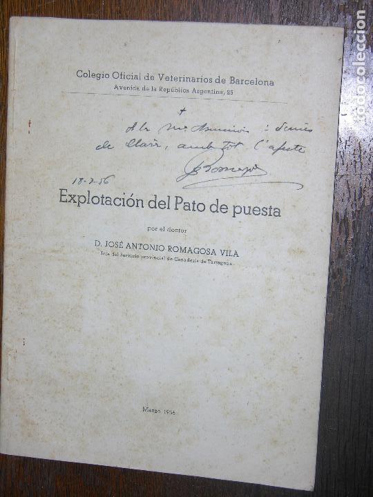 Catálogos publicitarios: (F.1) LiBRETO DEL PATO DE PUESTA POR D. JOSÉ ANTONÍO ROMAGOSA VILA AÑO 1956 - Foto 2 - 105967739