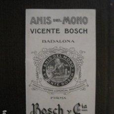 Catálogos publicitarios: CATALOGO ANIS DEL MONO CON NOTA DE PRECIOS AÑO 1943- VICENTE BOSCH-BADALONA -VEURE FOTOS -(V-12.930). Lote 105996543
