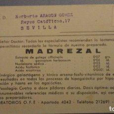 Catálogos publicitarios: ANTIGUA TARJETA PUBLICITARIA.MADREZAL.LABORATORIOS OFE.MADRID.. Lote 106023175