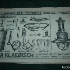 Catálogos publicitarios: CATÁLOGO LÁMPARAS DE PETRÓLEO CASA KLAEBISCH,BARCELONA. 26 PÁGINAS. 32 X 22 CMS.. Lote 106028767