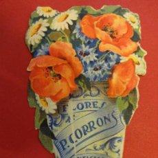 Catálogos publicitarios: FLORES CORRONS. BARCELONA. TROQUELADO DÍPTICO PUBLICITARIO. ORIGINAL. AÑOS 1930S. Lote 108066935