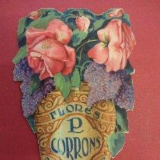 Catálogos publicitarios: FLORES CORRONS. BARCELONA. TROQUELADO DÍPTICO PUBLICITARIO. ORIGINAL. AÑOS 1930S. Lote 108066999