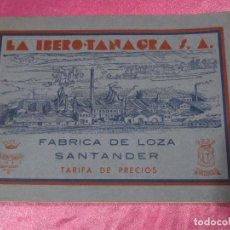 Catálogos publicitarios: CATALOGO PRECIOS LA IBERO TANAGRA FABRICA DE LOZA SANTANDER AÑO 1935 EXCELENTE ESTADO.. Lote 108113863