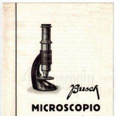 Catálogos publicitarios: CATALOGO INSTRUCCIONES MICROSCOPIO PORTÁTIL BUSCH AÑOS 40 LENTES ÓPTICA OPTOMETRIA OFTALMOLOGÍA. Lote 108515887