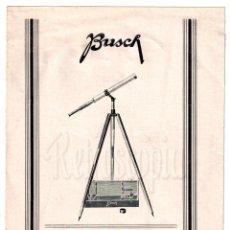 Catálogos publicitarios: CATALOGO INSTRUCCIONES TELESCOPIO PREIS ACIMUTAL BUSCH AÑOS 40 LENTES ÓPTICA OPTOMETRIA OFTALMOLOGÍA. Lote 108518423