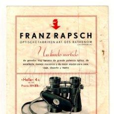 Catálogos publicitarios: CATALOGO GEMELOS PRISMÁTICOS FRANZ RAPSCH AÑOS 30 - 40 LENTES ÓPTICA OPTOMETRIA OFTALMOLOGÍA . Lote 108587315