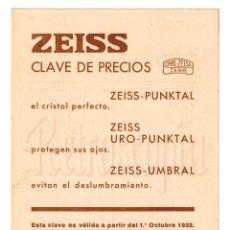 Catálogos publicitarios: CATALOGO CLAVE DE PRECIOS CRISTALES CARL ZEISS JENA 1932 LENTES ÓPTICA OPTOMETRIA OFTALMOLOGÍA. Lote 108612023