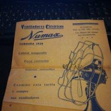 Catálogos publicitários: VENTILADORES ELÉCTRICOS NUMAS 1936.. Lote 108751112