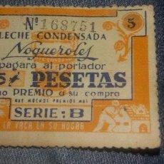 Catálogos publicitarios: CUPON VALE 5 PESETAS LECHE CONDENSADA NOGUEROLES. Lote 137154276