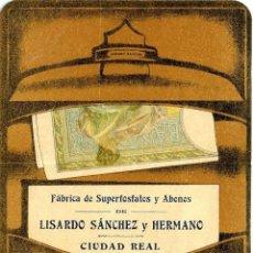 Catálogos publicitarios: CIUDAD REAL. LISARDO SANCHEZ Y HERMANO. SUPERFOSFATOS Y ABONOS. DÍPTICO EN FORMA DE BILLETERO.. Lote 109349639